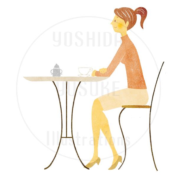 カフェの女性(イラスト素材)