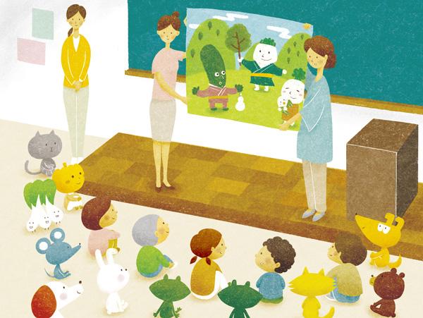 JA大阪市 「萌」表紙イラスト 8月号 教室での読み聞かせの様子