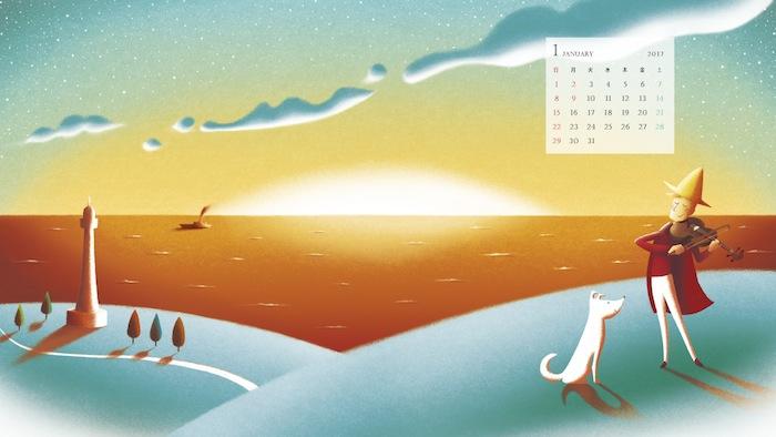 富士通 My Cloud デスクトップ壁紙 1月のイラスト