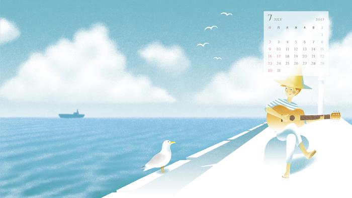 富士通 My Cloud デスクトップ壁紙 7月のイラスト