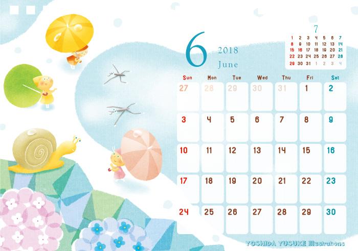 2018チャリティーイラストカレンダー 6月