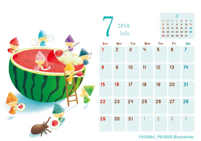 2018チャリティーイラストカレンダー 7月