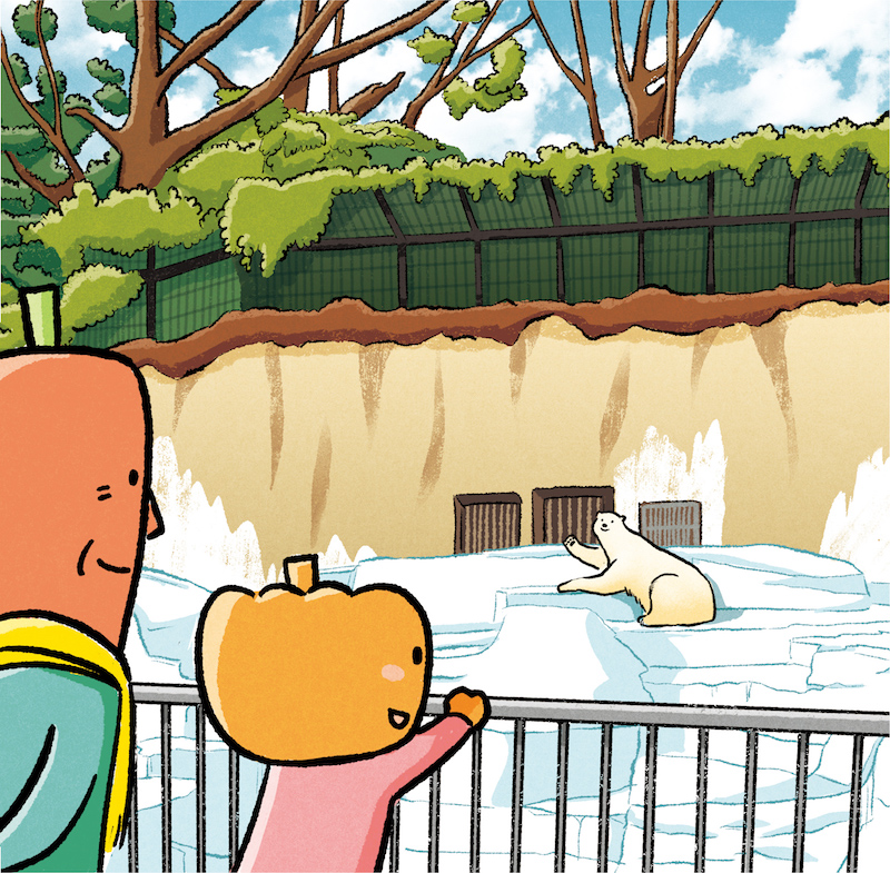 JA大阪市「萌」3月号 天王寺動物園のイラスト